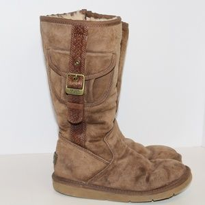 UGGs Camel color Sheepskin Lined Suede Cargo Boots